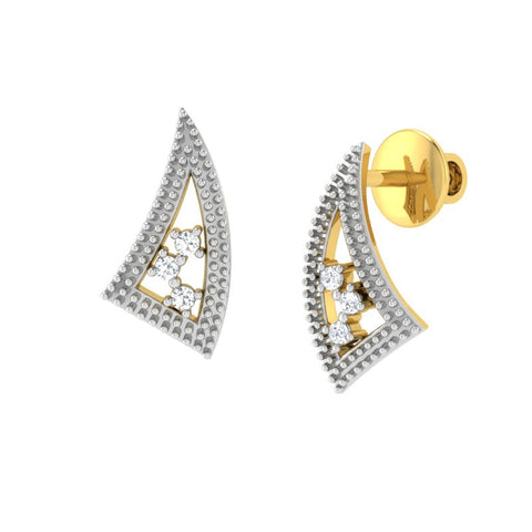 diamond studded gold jewellery - Winona Stud Earrings - Pristine Fire - 1