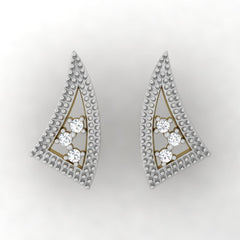 diamond studded gold jewellery - Winona Stud Earrings - Pristine Fire - 2