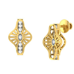 diamond studded gold jewellery - Wira Stud Earrings - Pristine Fire - 1