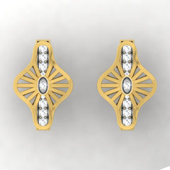 diamond studded gold jewellery - Wira Stud Earrings - Pristine Fire - 2