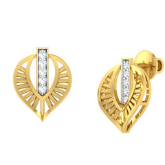 diamond studded gold jewellery - Wisia Stud Earrings - Pristine Fire - 1