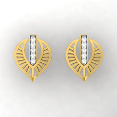 diamond studded gold jewellery - Wisia Stud Earrings - Pristine Fire - 2