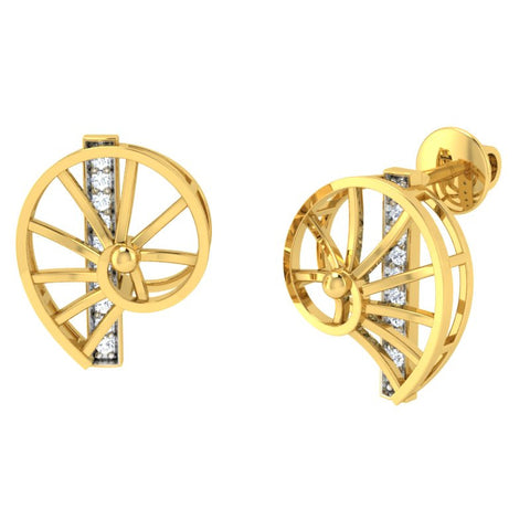 diamond studded gold jewellery - Wyanet Stud Earrings - Pristine Fire - 1