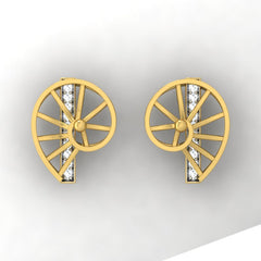 diamond studded gold jewellery - Wyanet Stud Earrings - Pristine Fire - 2