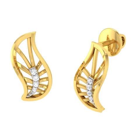 diamond studded gold jewellery - Xabrina Stud Earrings - Pristine Fire - 1