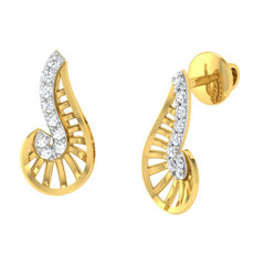 diamond studded gold jewellery - Xalina Stud Earrings - Pristine Fire - 1