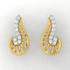 diamond studded gold jewellery - Xalina Stud Earrings - Pristine Fire - 2