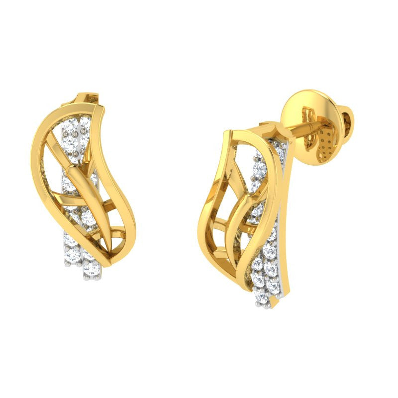 diamond studded gold jewellery - Xara Stud Earrings - Pristine Fire - 1