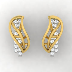 diamond studded gold jewellery - Xara Stud Earrings - Pristine Fire - 2