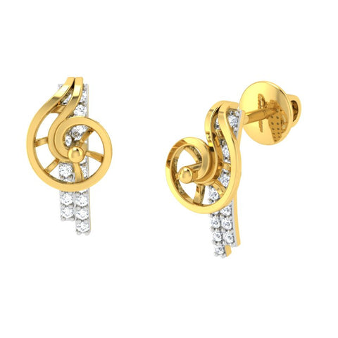 diamond studded gold jewellery - Xarika Stud Earrings - Pristine Fire - 1
