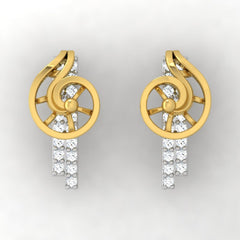 diamond studded gold jewellery - Xarika Stud Earrings - Pristine Fire - 2