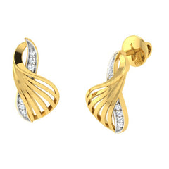 diamond studded gold jewellery - Yadira Stud Earrings - Pristine Fire - 1