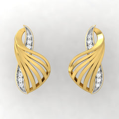 diamond studded gold jewellery - Yadira Stud Earrings - Pristine Fire - 2