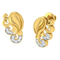diamond studded gold jewellery - Yadra Stud Earrings - Pristine Fire - 1