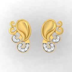 diamond studded gold jewellery - Yadra Stud Earrings - Pristine Fire - 2
