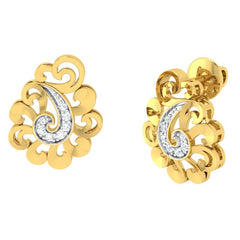 diamond studded gold jewellery - Yael Stud Earrings - Pristine Fire - 1