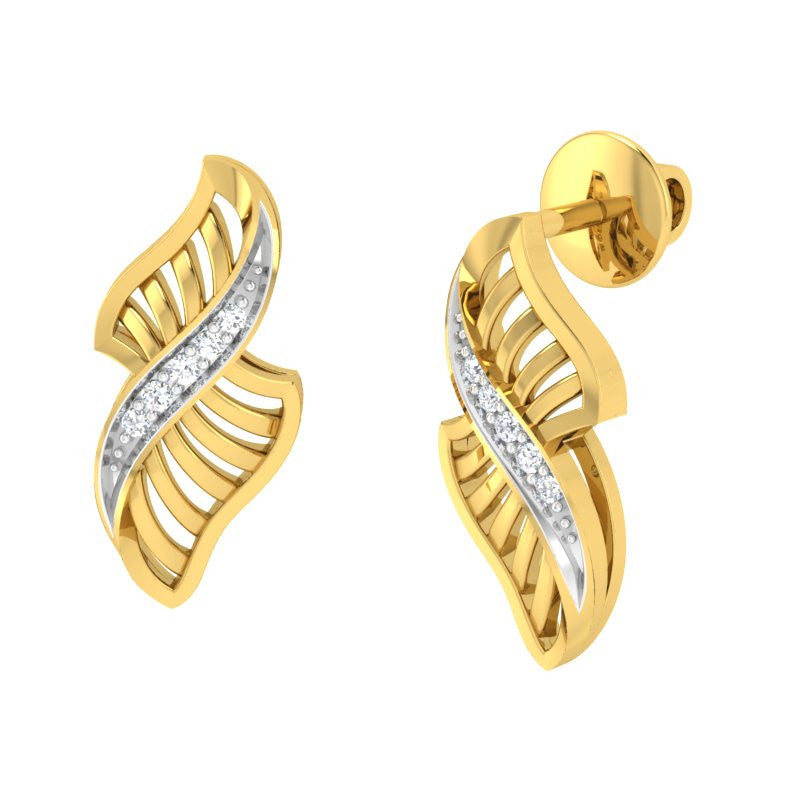 diamond studded gold jewellery - Yaffa Stud Earrings - Pristine Fire - 1