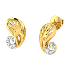 diamond studded gold jewellery - Yakira Stud Earrings - Pristine Fire - 1
