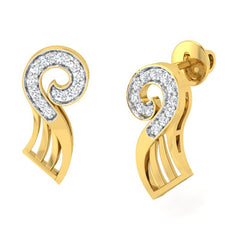 diamond studded gold jewellery - Yalanda Stud Earrings - Pristine Fire - 1