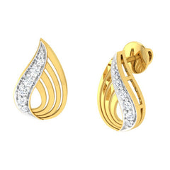 diamond studded gold jewellery - Yalena Stud Earrings - Pristine Fire - 1