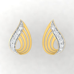 diamond studded gold jewellery - Yalena Stud Earrings - Pristine Fire - 2