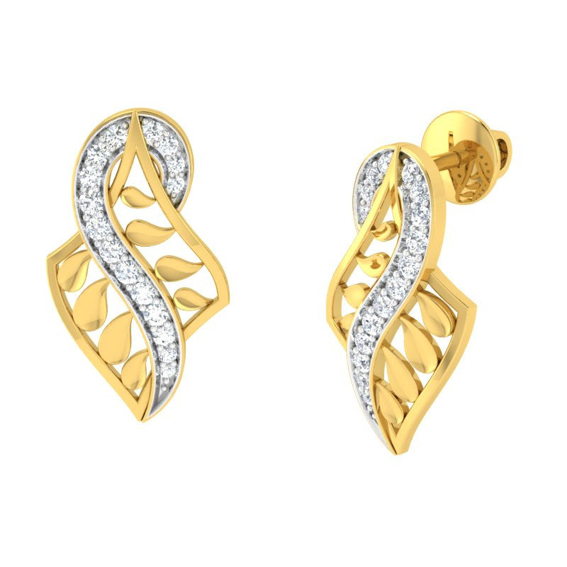 diamond studded gold jewellery - Yaletha Stud Earrings - Pristine Fire - 1