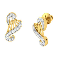 diamond studded gold jewellery - Yamelia Stud Earrings - Pristine Fire - 1