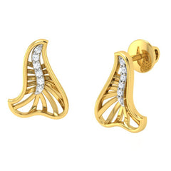 diamond studded gold jewellery - Yamila Stud Earrings - Pristine Fire - 1