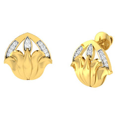 diamond studded gold jewellery - Yaminah Stud Earrings - Pristine Fire - 1