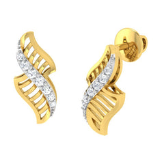 diamond studded gold jewellery - Yamuna Stud Earrings - Pristine Fire - 1