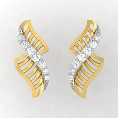 diamond studded gold jewellery - Yamuna Stud Earrings - Pristine Fire - 2