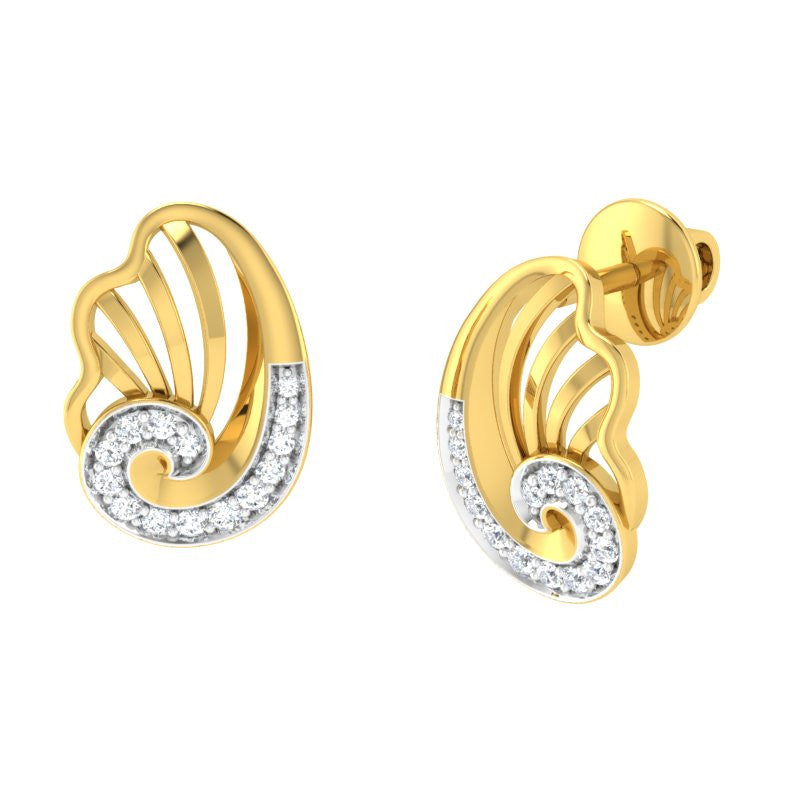 diamond studded gold jewellery - Yashira Stud Earrings - Pristine Fire - 1