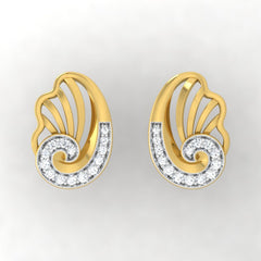 diamond studded gold jewellery - Yashira Stud Earrings - Pristine Fire - 2