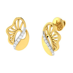 diamond studded gold jewellery - Yeira Stud Earrings - Pristine Fire - 1