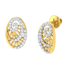 diamond studded gold jewellery - Yemena Stud Earrings - Pristine Fire - 1