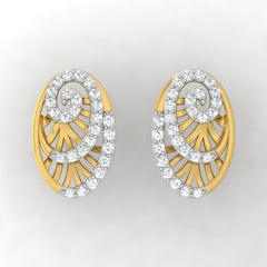 diamond studded gold jewellery - Yemena Stud Earrings - Pristine Fire - 2
