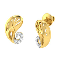 diamond studded gold jewellery - Yevgenia Stud Earrings - Pristine Fire - 1