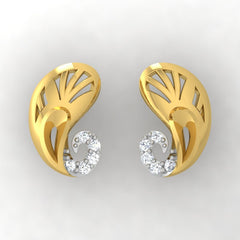 diamond studded gold jewellery - Yevgenia Stud Earrings - Pristine Fire - 2