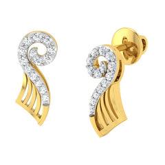 diamond studded gold jewellery - Yoanna Stud Earrings - Pristine Fire - 1