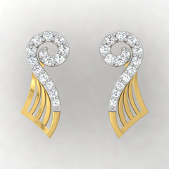 diamond studded gold jewellery - Yoanna Stud Earrings - Pristine Fire - 2