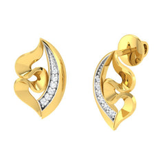 diamond studded gold jewellery - Yolie Stud Earrings - Pristine Fire - 1