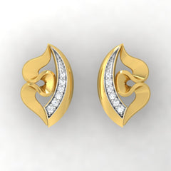 diamond studded gold jewellery - Yolie Stud Earrings - Pristine Fire - 2