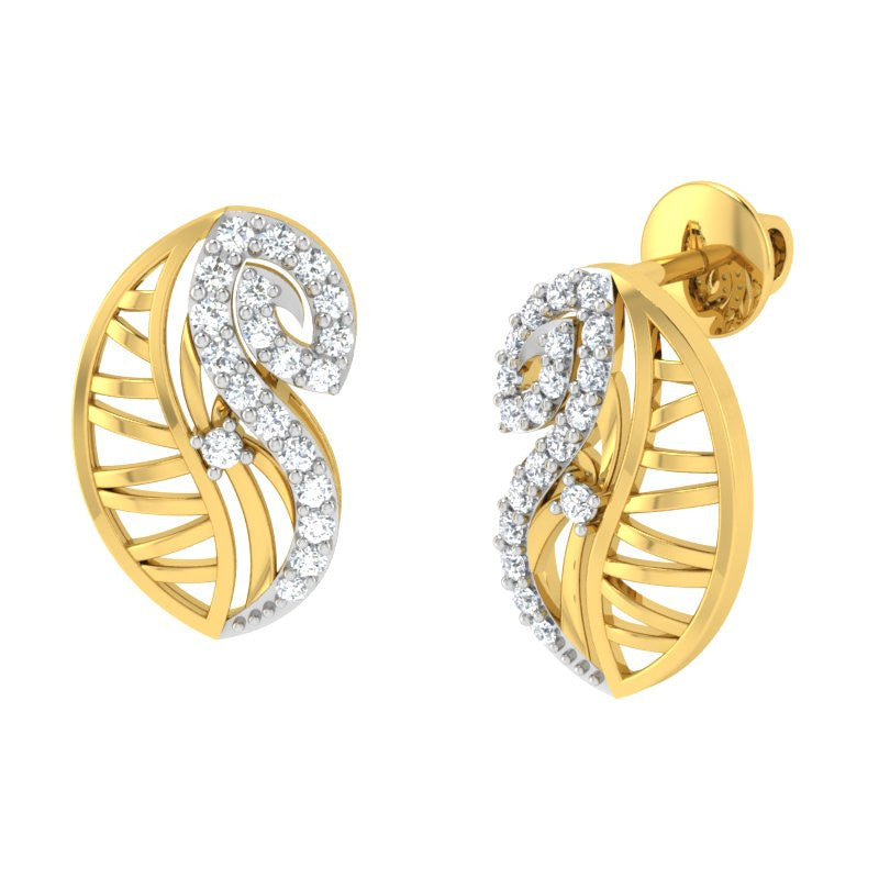 diamond studded gold jewellery - Yoselyn Stud Earrings - Pristine Fire - 1