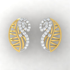 diamond studded gold jewellery - Yoselyn Stud Earrings - Pristine Fire - 2