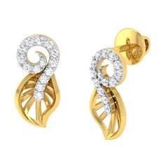 diamond studded gold jewellery - Yuki Stud Earrings - Pristine Fire - 1
