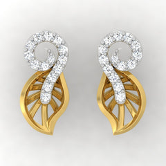 diamond studded gold jewellery - Yuki Stud Earrings - Pristine Fire - 2
