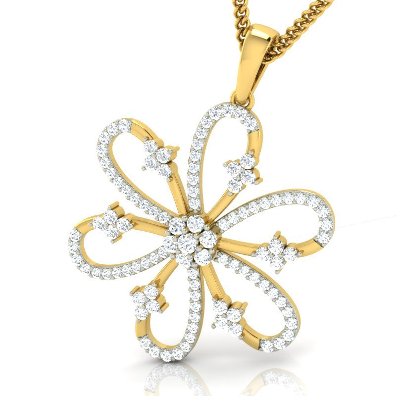 diamond studded gold jewellery - Taneka Fashion Pendant - Pristine Fire - 1