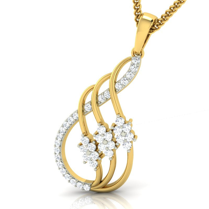 diamond studded gold jewellery - Jessica Fashion Pendant - Pristine Fire - 1