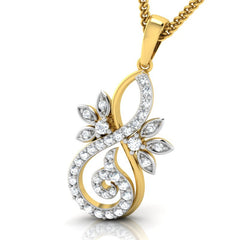 diamond studded gold jewellery - Frøya Casual Pendant - Pristine Fire - 1