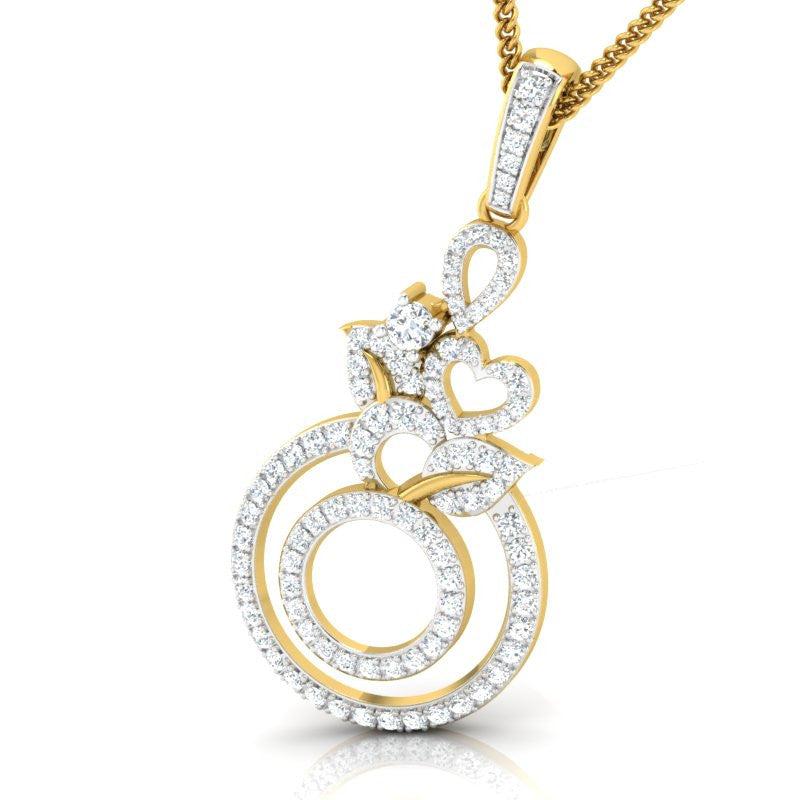 diamond studded gold jewellery - Chloe Fashion Pendant - Pristine Fire - 1